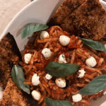 Chilli Basil Rice Noodle Pasta & Garlic triangles