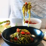 Green Noodles with Blistered Cherry Tomatoes