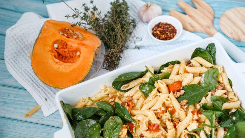 tasty pumpkin and spinach pasta