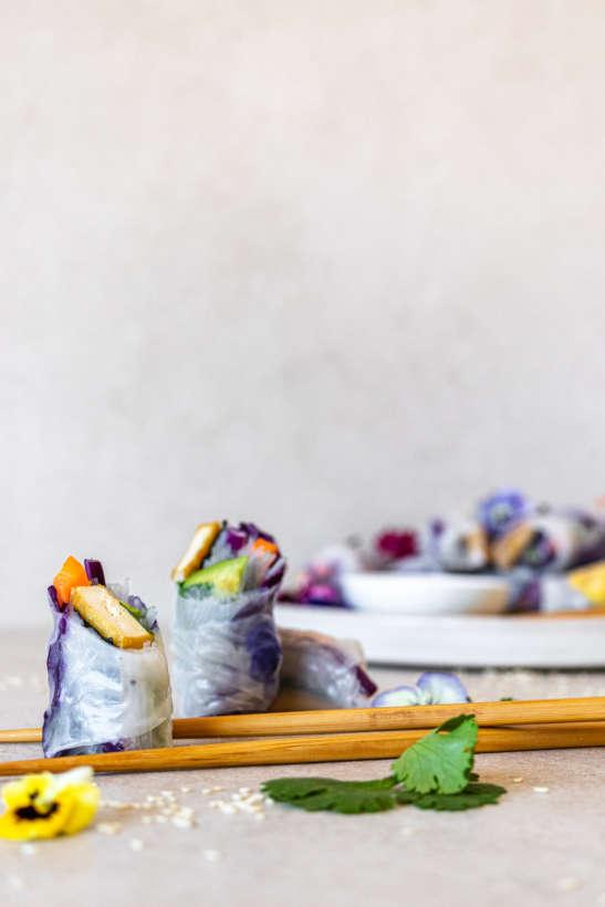tofu rice paper rolls